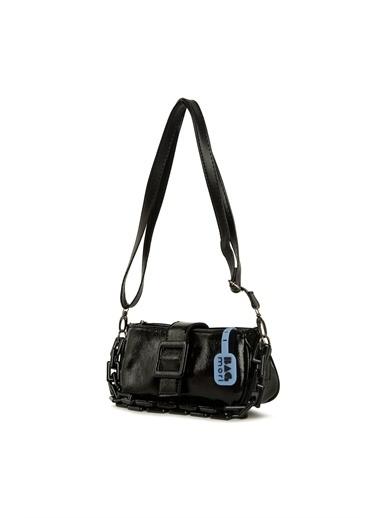 Bagmori  Kadın Kemerli Zincirli Yatay Baget Çanta M000006069 Siyah